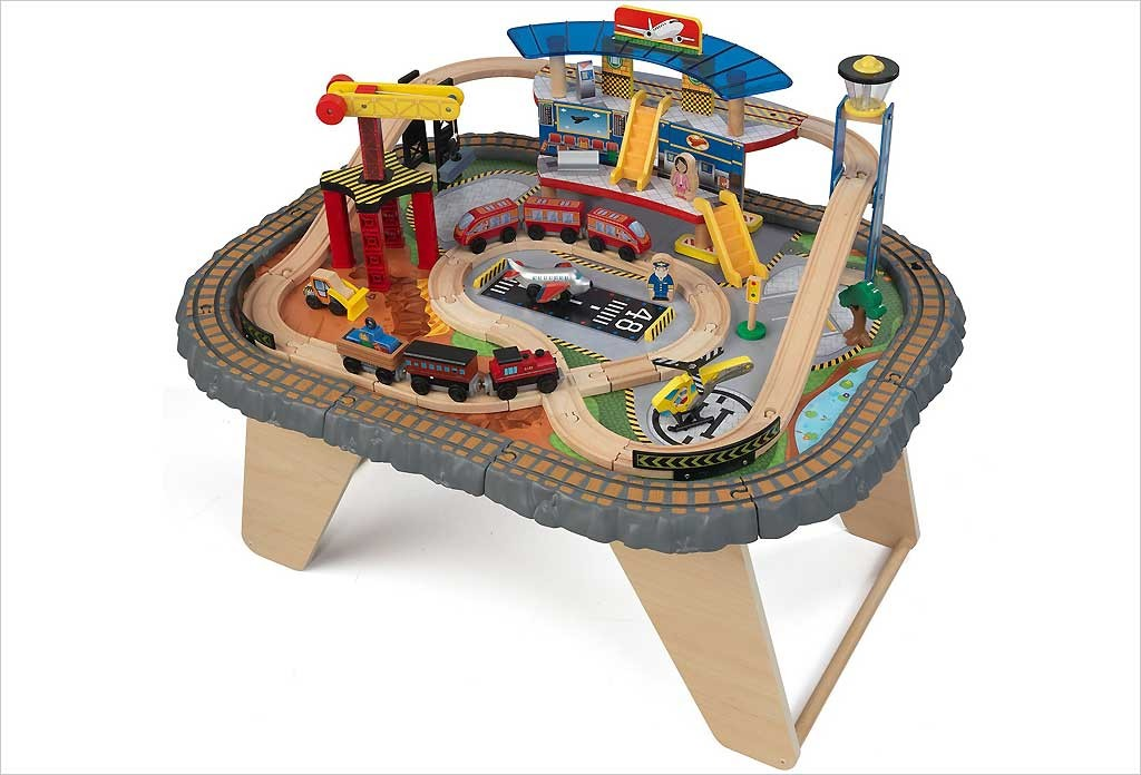 Table circuit de train en bois kidkraft waterfall junction - Table de jeux 5 en 1 ...
