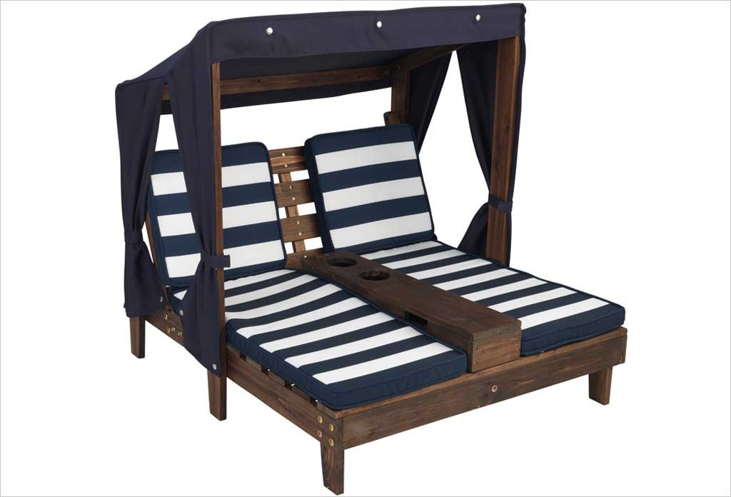chaise longue enfant double kidkraft avec coussins bleu et. Black Bedroom Furniture Sets. Home Design Ideas