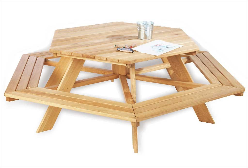 grande table de jardin pique nique en bois enfants zidzed. Black Bedroom Furniture Sets. Home Design Ideas