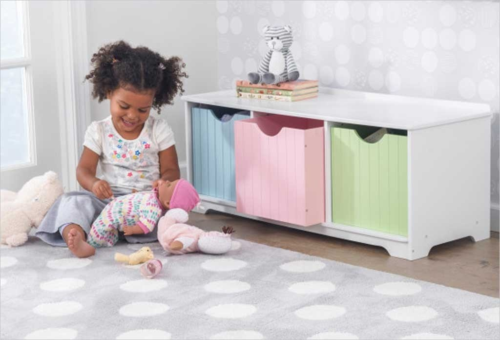 banc de rangement enfant et 3 coubes couleurs pastel kidkraft 14565. Black Bedroom Furniture Sets. Home Design Ideas