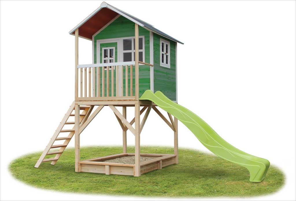 grande cabane pour enfant en bois loft 700 vert exit toys. Black Bedroom Furniture Sets. Home Design Ideas
