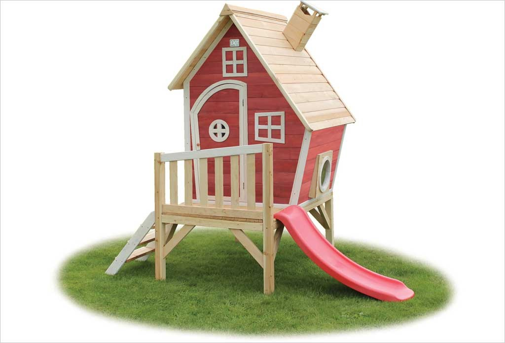 cabane en bois avec toboggan pour enfant fantasia 300 rouge exit toys. Black Bedroom Furniture Sets. Home Design Ideas