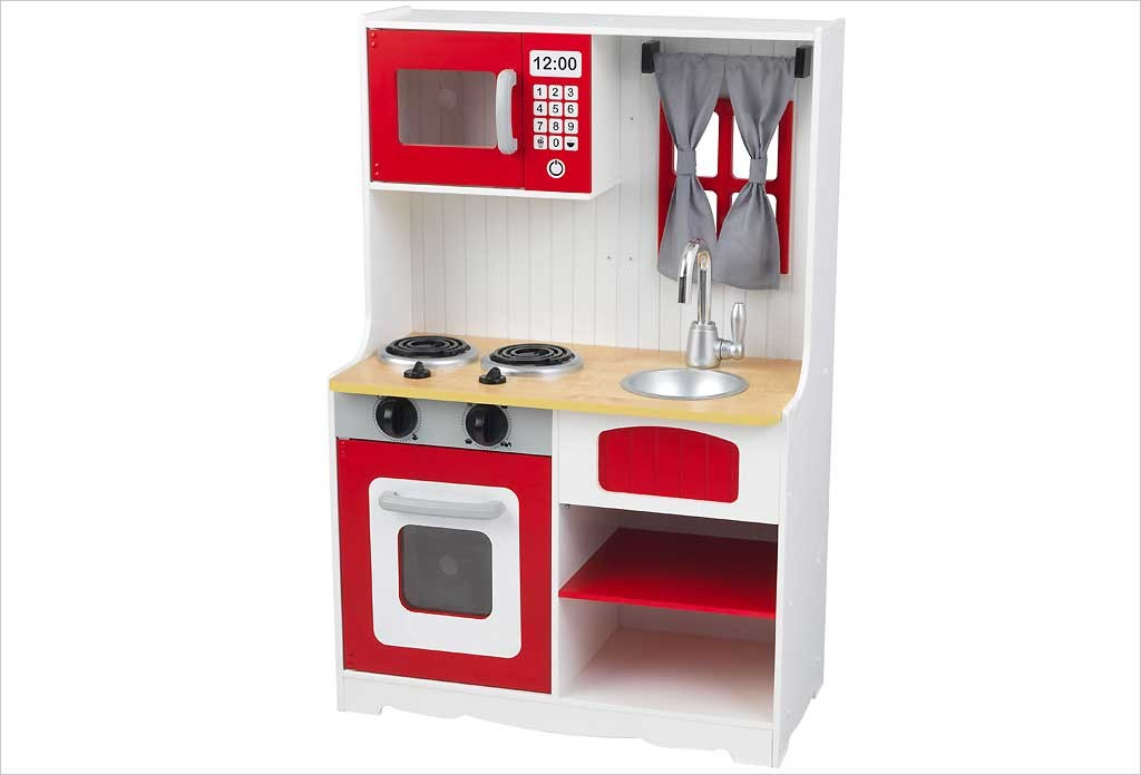 Cuisine enfant rouge kidkraft red country kitchen 53299 for Cuisine kidkraft