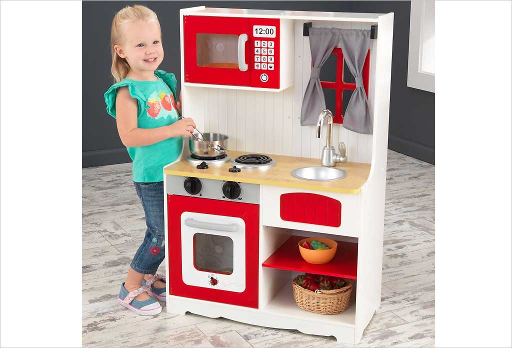 cuisine enfant rouge kidkraft red country kitchen 53299
