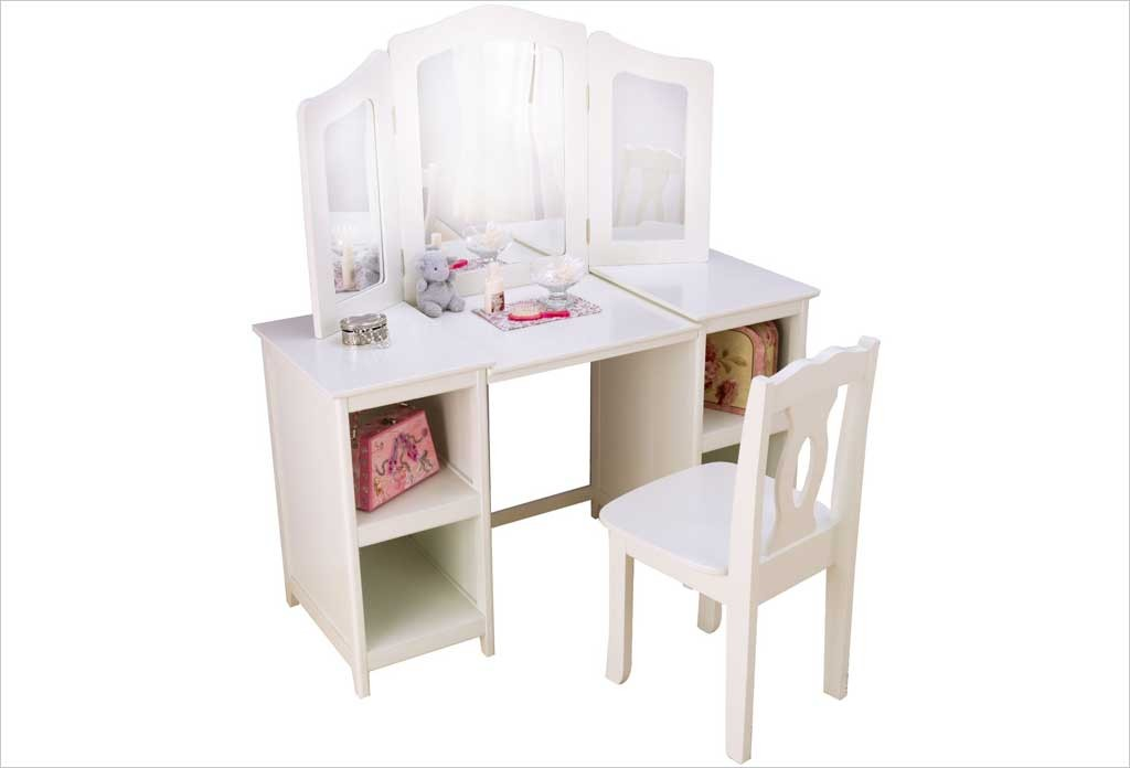 grande coiffeuse blanche et chaise en bois kidkraft apesanteur. Black Bedroom Furniture Sets. Home Design Ideas