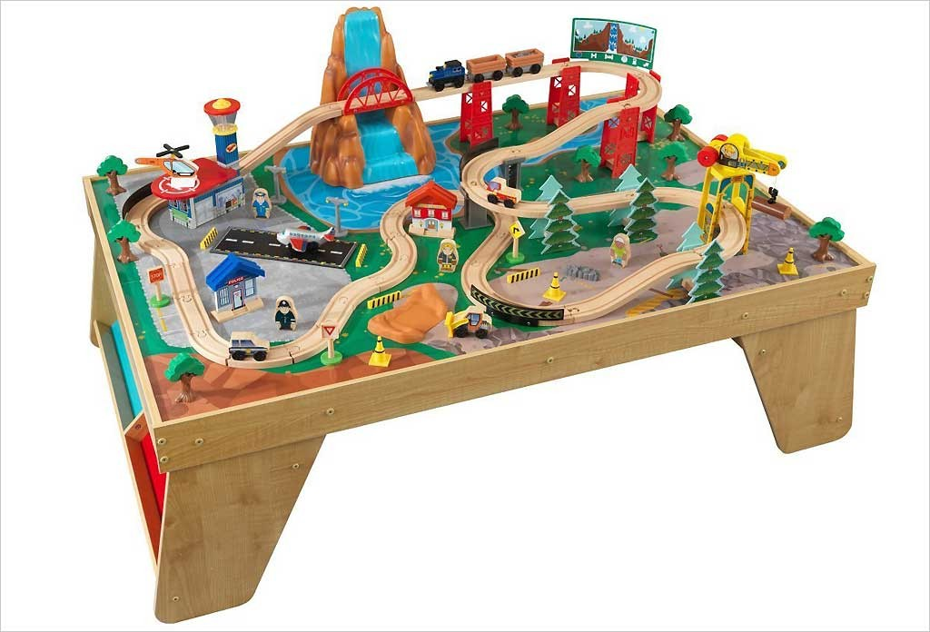 table de circuit de train en bois kidkraft jouets pour enfants. Black Bedroom Furniture Sets. Home Design Ideas