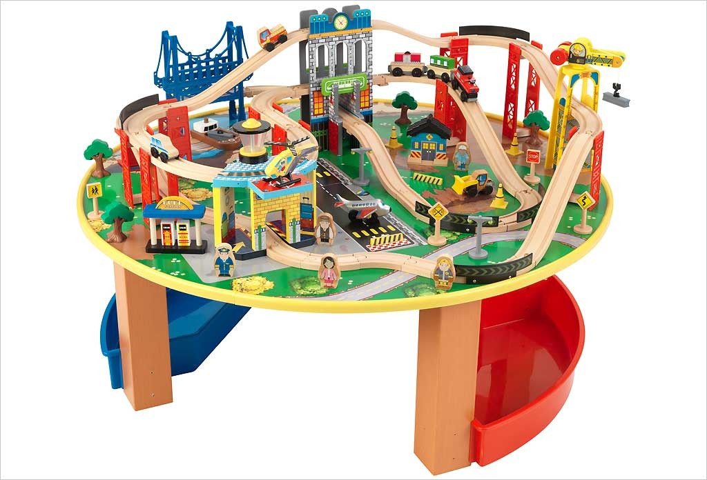 table circuit train bois city explorer s kidkraft jouets apesanteur. Black Bedroom Furniture Sets. Home Design Ideas