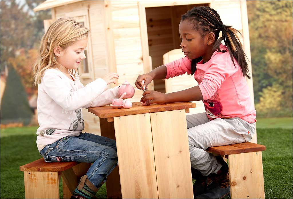 table de jardin pique nique en bois pour enfants zidzed axi. Black Bedroom Furniture Sets. Home Design Ideas