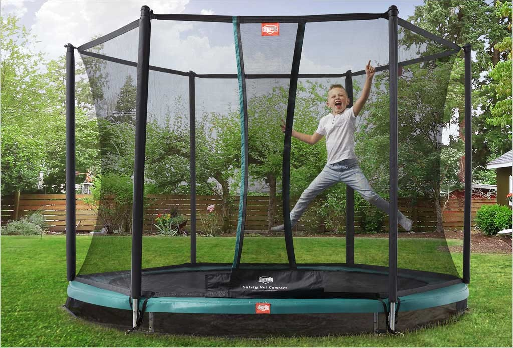 trampoline enterr berg 305 cm pour enfants avec filet. Black Bedroom Furniture Sets. Home Design Ideas